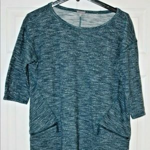 T By Talbots Dress Blue Teal 1X Metallic Tunic